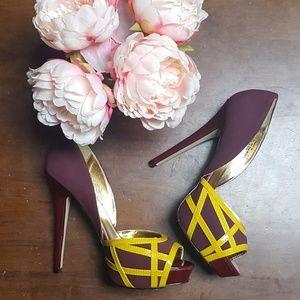 ShoeDazzle, Transit, Platform Heels, Burgundy, 9